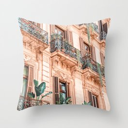 Vintage Facade Building Architecture, City Barcelona, Spanish Balcony, Retro Apartments Throw Pillow