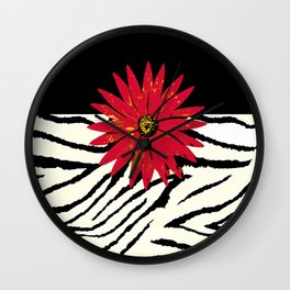 Animal Print Zebra Black and White and Red flower Medallion Wall Clock