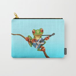 Tree Frog Playing Acoustic Guitar with Flag of Scotland Carry-All Pouch