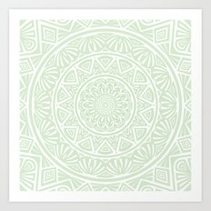 Olive Green Simple Simplistic Mandala Design Ethnic Tribal Pattern Art Print