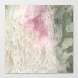 Vintage pink green ivory abstract watercolor pattern Canvas Print