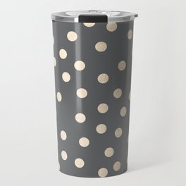 Simply Dots White Gold Sands on Storm Gray Travel Mug