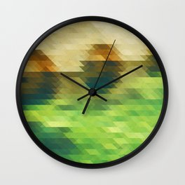 Green yellow triangle pattern, lake Wall Clock