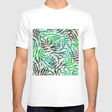 Watercolor Tropical Palm Leaves II White MEDIUM Mens Fitted Tee
