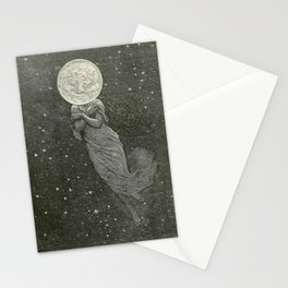 Antique Moon Woman Stationery Cards