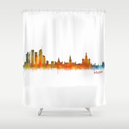 Moscow City Skyline art HQ v2 Shower Curtain