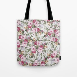 Vintage rustic white wood blush pink floral Tote Bag