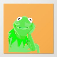 kermit Canvas Prints featuring Kermit by Roythehuman