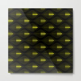 Black and Glowing Neon Yellow Arrows and Fisheyes Metal Print