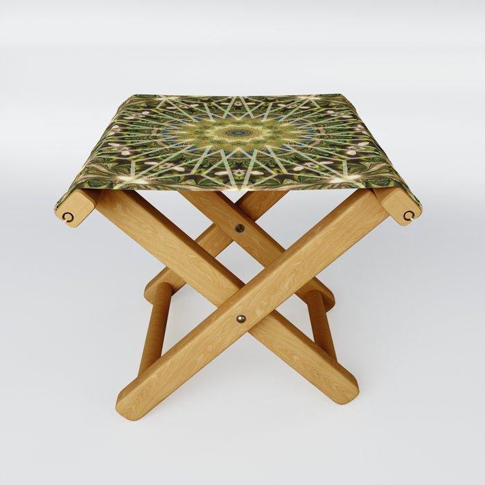 Geometric Forest Mandala Folding Stool