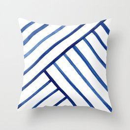 Watercolor lines pattern | Navy blue Throw Pillow