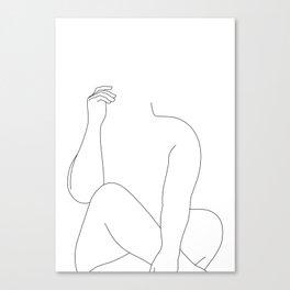 Nude figure line drawing - Elara Canvas Print