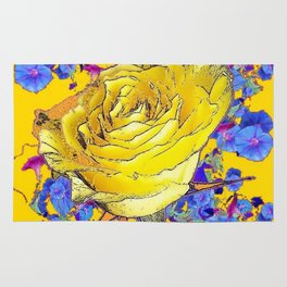 GOLDEN YELLOW ART & YELLOW ROSE BLUE MORNING GLORY FLOWERS Rug