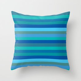 Blue Mod Stripes Throw Pillow