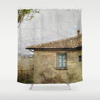 farm Shower Curtains featuring Italian Farm by BlueMoonArt