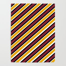 TEAM COLORS 1…Maroon Gold black and white diagonal stripe Poster
