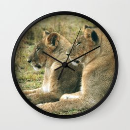 Lion Cub Twins Wall Clock