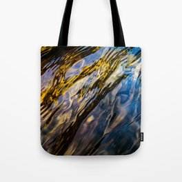 River Ripples in Copper Gold Blue and Brown Tote Bag