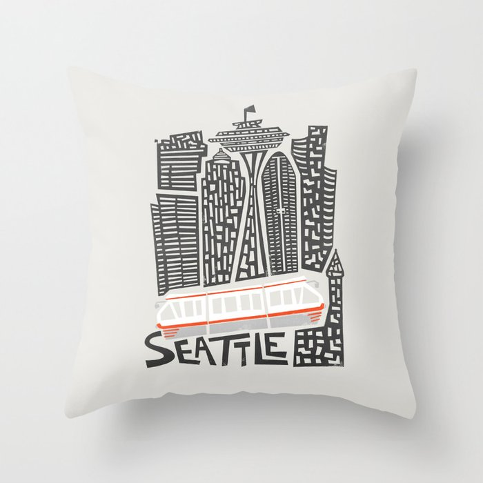 Seattle Cityscape Throw Pillow