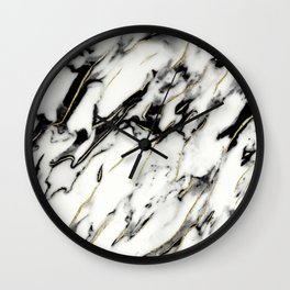 Classic White Marble Gold Foil Glam #1 #marble #decor #art #society6 Wall Clock