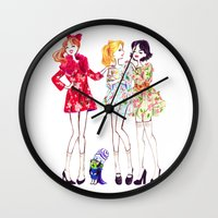 powerpuff girls Wall Clocks featuring Powerpuff girls getting classy by Maëlle Rajoelisolo