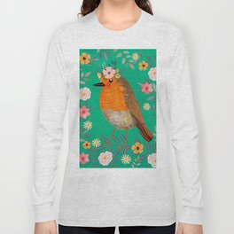 Robin Bird with flowers Long Sleeve T-shirt