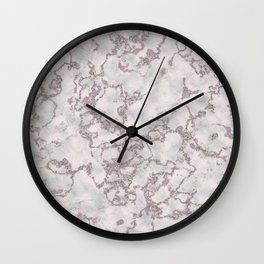 Mint and White Silver Glitter Marble Texture Wall Clock