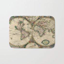 1689 Antique World Globe Map Bath Mat