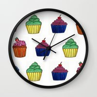 cupcakes Wall Clocks featuring cupcakes by MeriRS