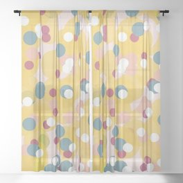 Yellow Dots Sheer Curtain