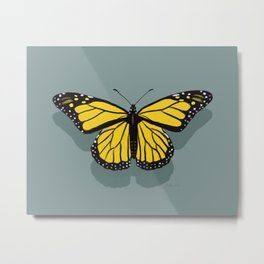 Hand-painted Monarch Butterflies, Oil Painting in Yellow and Grey, Paint Textured Butterfly Pattern  Metal Print