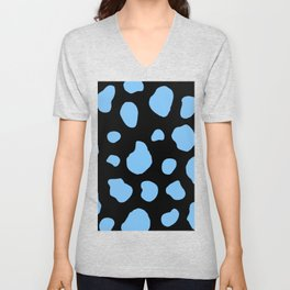 Light Blue And Black Cow Print Unisex V-Neck