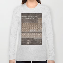 Tableau Periodiques Periodic Table Of The Elements Vintage Chart Sepia Red Tint Long Sleeve T-shirt