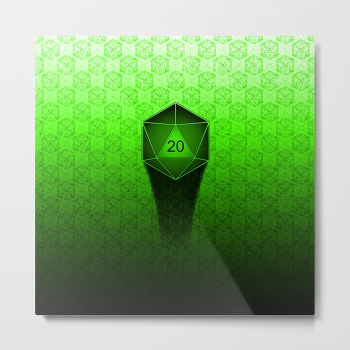 D20 All I Do Is Crit!  Green Ombre Metal Print
