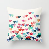 purple Throw Pillows featuring Heart Connections - watercolor painting by micklyn