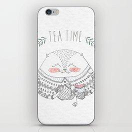 tea time cat iPhone Skin