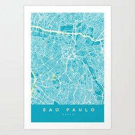 Sao Paulo City Map | Brazil | Aqua | More Colors, Review My Collections Art Print
