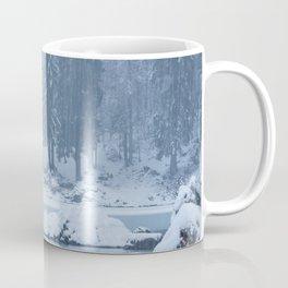Heavy snow fall lake Fusine, Italy Coffee Mug