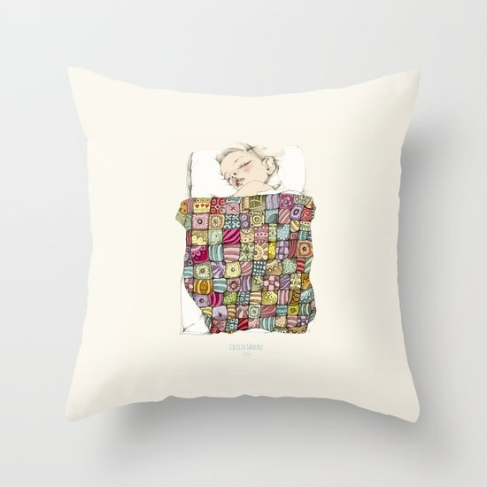 sleeping child Throw Pillow