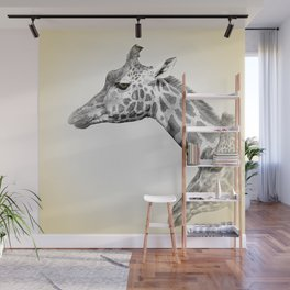 Giraffes With A Hint Of Colour Wall Mural