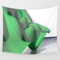math Wall Tapestries featuring Waving Math Surface Green by Carlo Toffolo