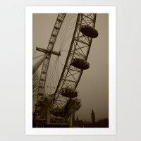 Ferris Wheel & Big Ben Art Print