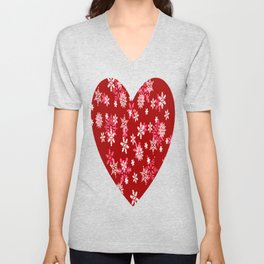Red Heart Of Snowflakes Loving Winter and Snow Unisex V-Neck