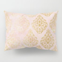 floral gold leaf diamond arabesque on pink Pillow Sham