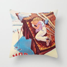 Vintage Swiss Winter Sports Travel Poster Throw Pillow