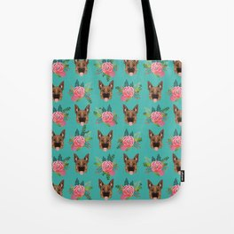 German Shepherd florals bouquet dog breed pet friendly pattern dogs Tote Bag