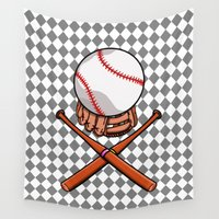 baseball Wall Tapestries featuring Baseball by mailboxdisco