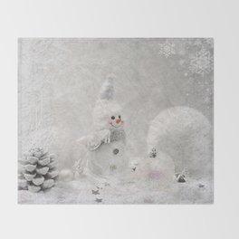 Cute snowman winter season Throw Blanket