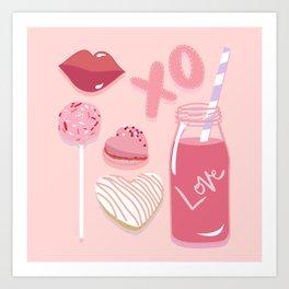 Valentine's Day Cake Pop Drink Macaron Donut Lips Print Art Print