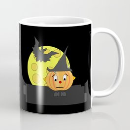 Funny emotionless pumpkin head with bat and moon Coffee Mug